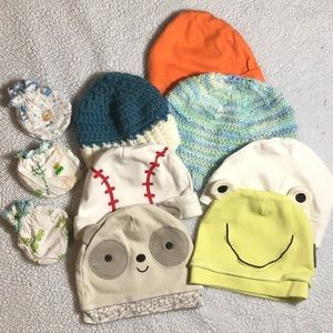 4/12$💙💚 7 Baby Hats & 3 Mittens